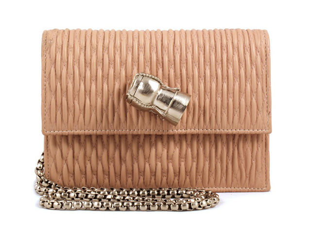Sarah's Bag Chic Champagne Quilted Shoulder Bag