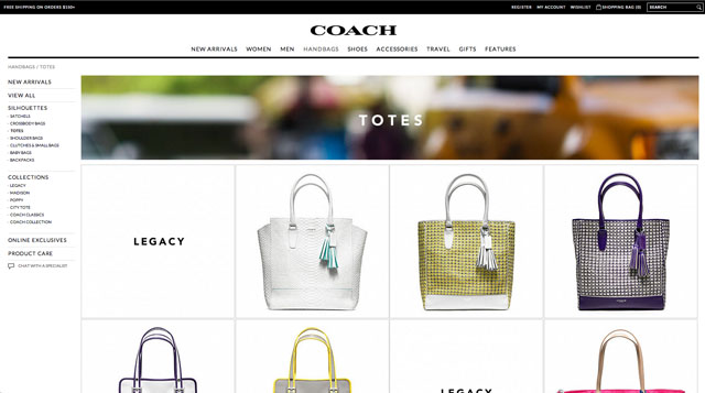 Coach.com New Design Results Page