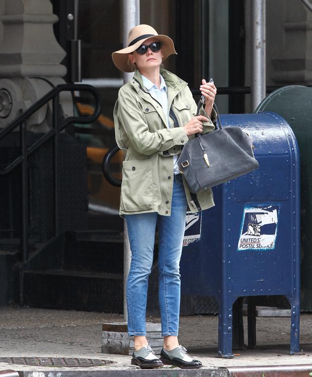 Diane Kruger carries a Balmain x Aurelie Bidermann Pierre Bag in NYC (5)