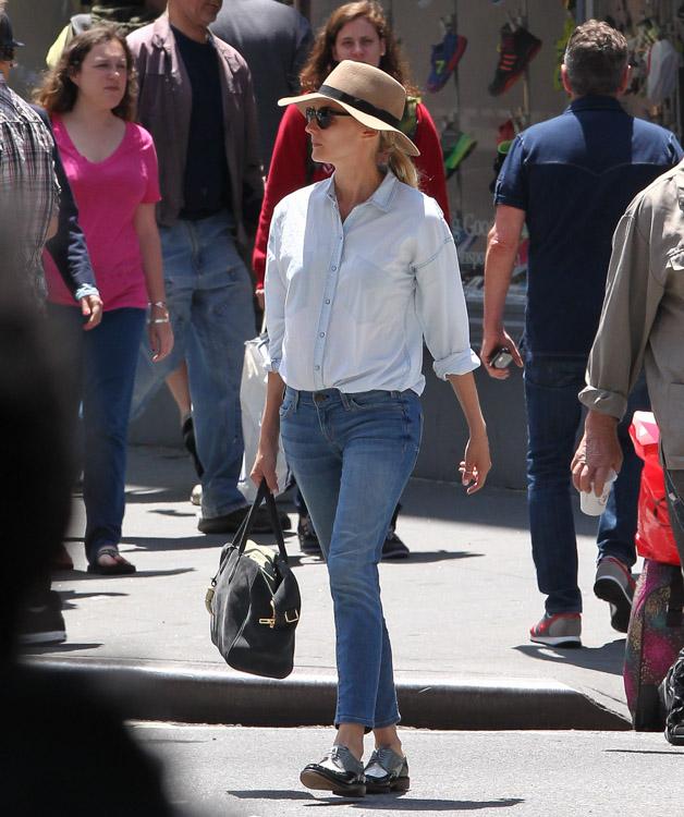 Diane Kruger carries a Balmain x Aurelie Bidermann Pierre Bag in NYC (2)