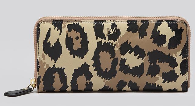 Diane von Furstenberg Leopard Zip Around Wallet