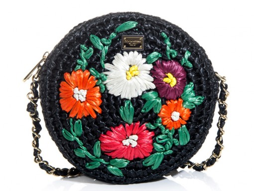 Dolce & Gabbana Glam Floral Raffia Bag