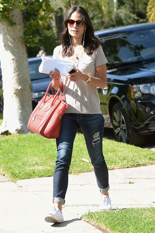Famke Janssen carries a Celine Luggage Tote in LA (3)