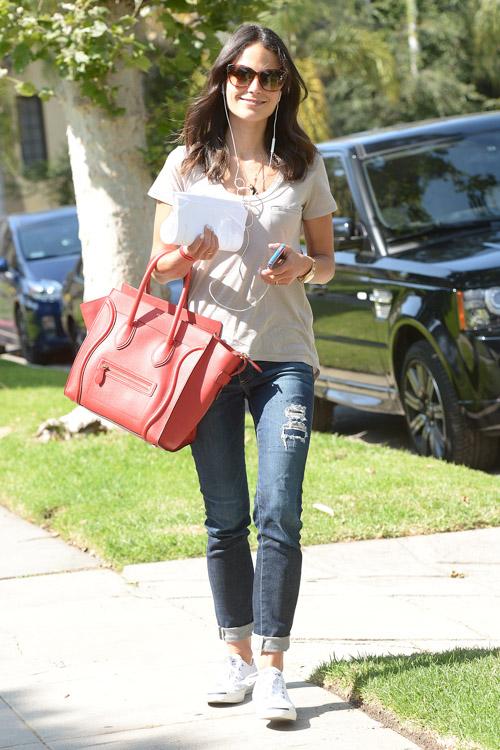 Famke Janssen carries a Celine Luggage Tote in LA (2)