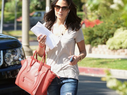 Famke Janssen carries a Celine Luggage Tote in LA (1)