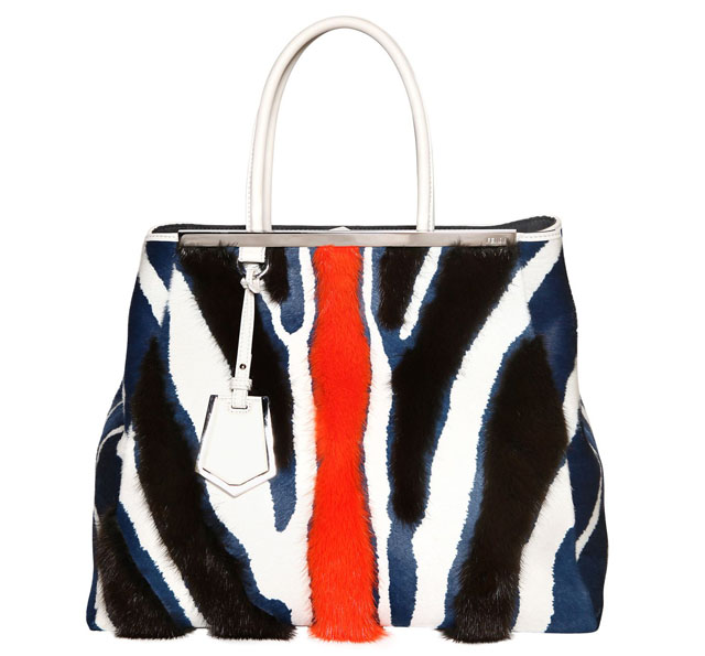 Fendi 2Jours Mink and White Leather Large Tote Bag
