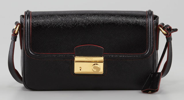 Prada Saffiano Vernice Small Shoulder Bag