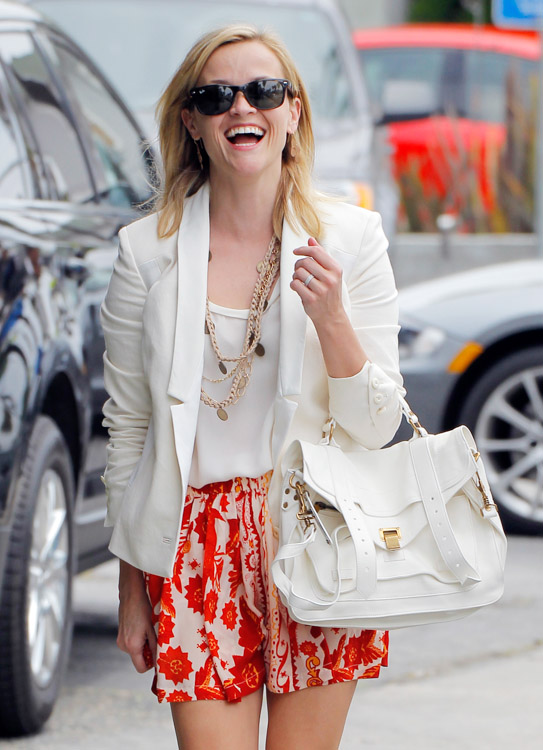 Reese Witherspoon carries a white Proenza Schouler PS1 Bag (3)