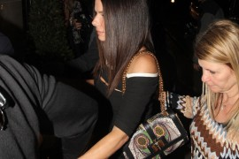 Sandra Bullock carries a Christian Louboutin Sweet Charity Snakeskin Bag in London (5)