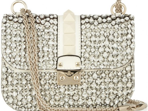 Valentino Glam Lock Crystal Shoulder Bag