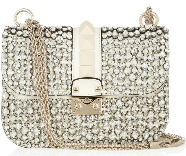 Valentino Glam Lock Crystal Shoulder Bag