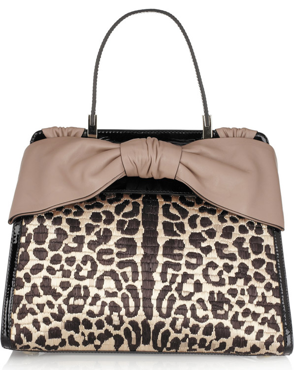 Valentino Leopard Raffia Top Handle