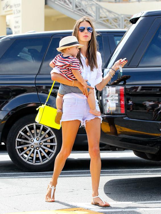 Alessandra Ambrosio carries a neon yellow MICHAEL Michael Kors Selma Messenger Bag (3)