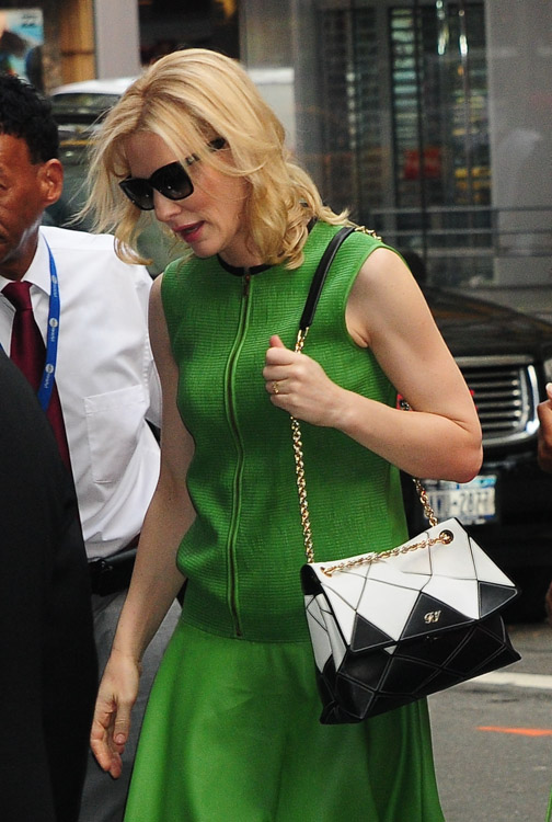Cate Blanchett carries a Roger Vivier Prismick Bag in NYC (1)