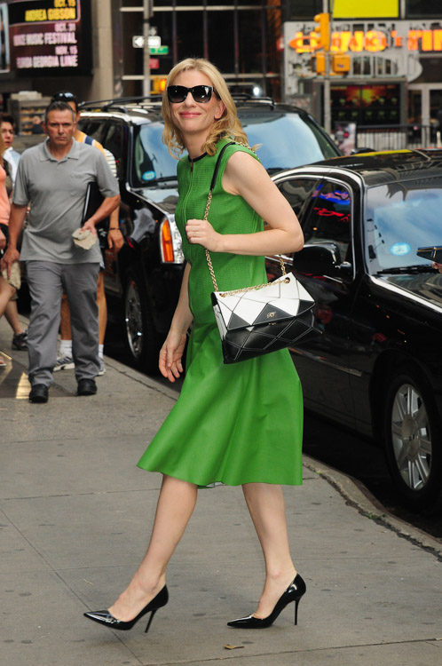 Cate Blanchett carries a Roger Vivier Prismick Bag in NYC (2)
