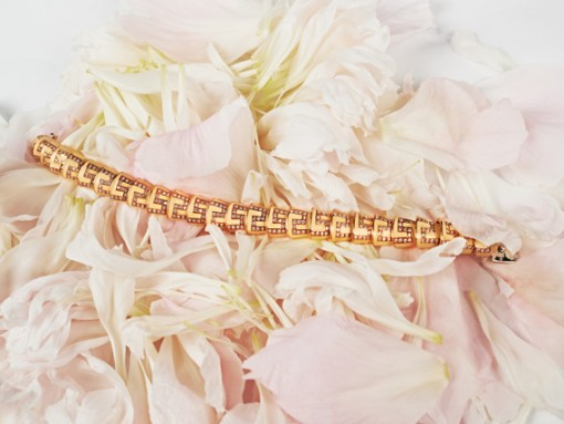 Diamond Enamel and Gold Bracelet