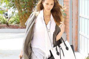Jessica Alba carries a black and white Michael Kors Miranda Tote in LA (5)