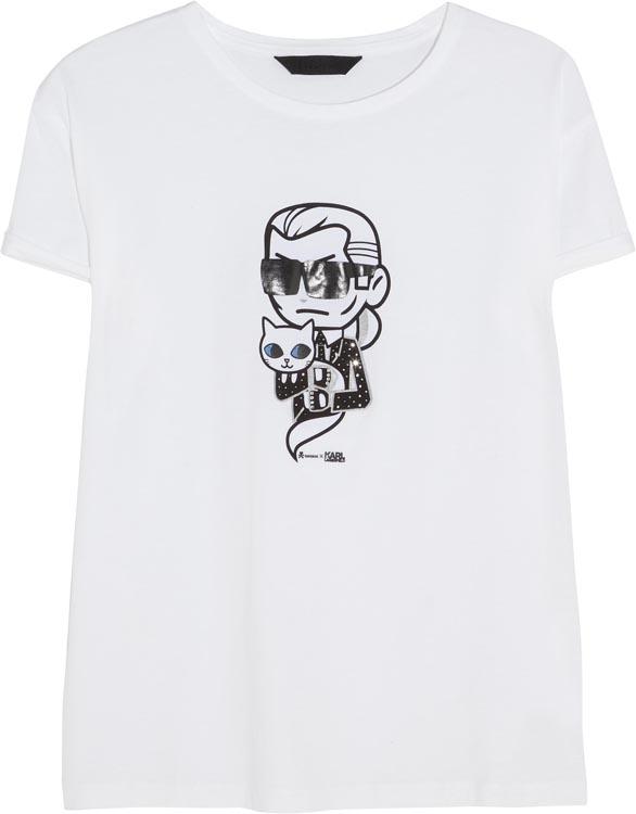 Karl Lagerfeld x Tokidoki Crystal Embellished Choupette T-Shirt