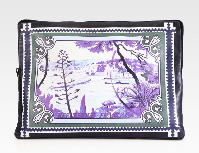 Mary Katrantzou Large Printed Leather Pouch