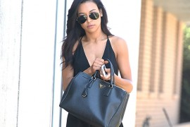 Naya Rivera carries a black Prada Saffiano Lux Tote in LA (5)