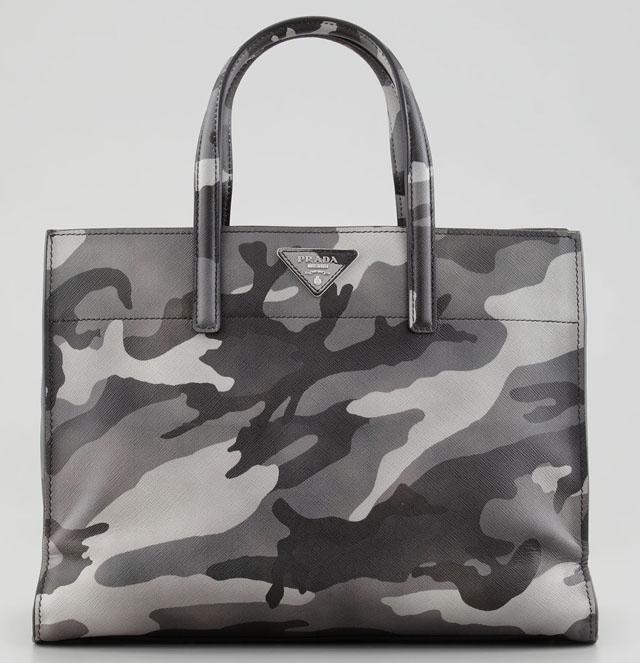 Prada Camo Print Soft Saffiano Tote Bag