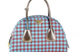 Prada Jacquard Check Small Bowler Bag