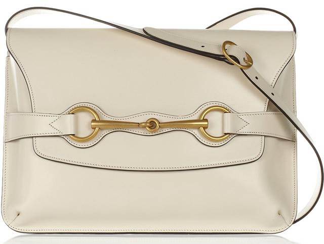 Gucci Bright Bit Leather Shoulder Bag in cream