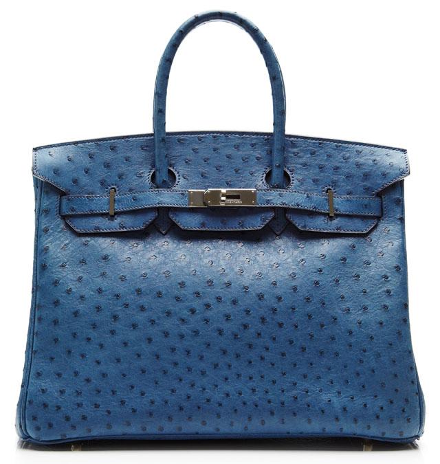 Hermes 35cm Blue Roi Ostrich Birkin