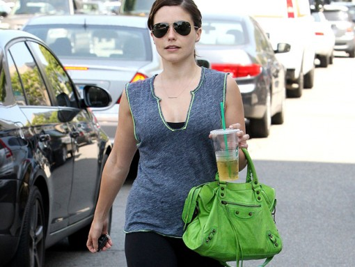 Sophia Bush carries a green Balenciaga City Bag in LA (5)