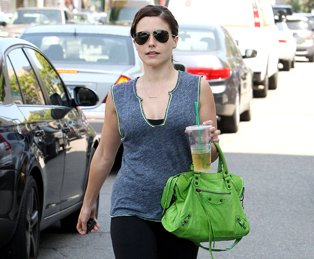 Sophia Bush carries a green Balenciaga City Bag in LA (5)