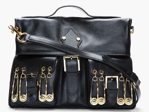 Versus Black Leather Safety Pin Shoulder Bag