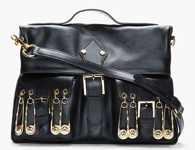 Versus Black Leather Safety Pin Shoulder Bag