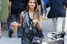 Jessica Alba carries a studded Jimmy Choo bag in NYC (5)