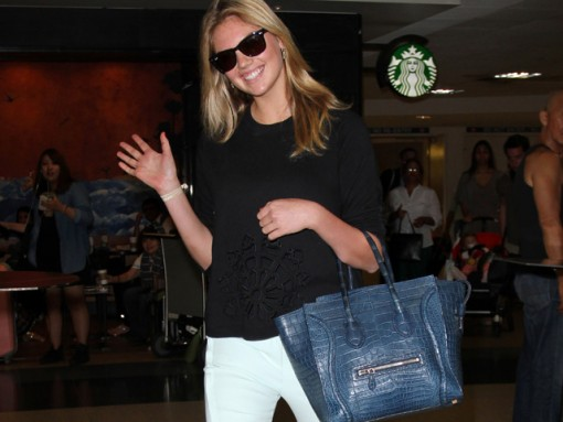 Kate Upton carries a Celine Crocodile Luggage Tote in NYC (5)
