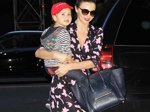 Miranda Kerr carries a blue Celine Luggage Tote in NYC (5)