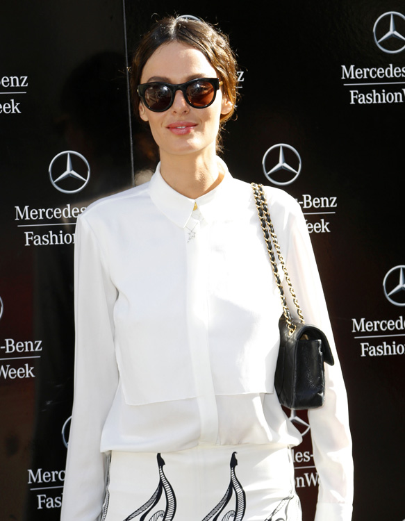 Celebrity arrivals at the Carolina Herrera Spring 2014 Fashion Week Show in NYC