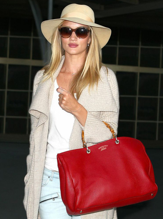Rosie Huntington-Whiteley with a Gucci Bamboo Bag