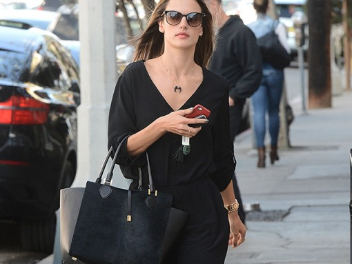 Alessandra Ambrosio carries a black Michael Kors calf hair tote (5)