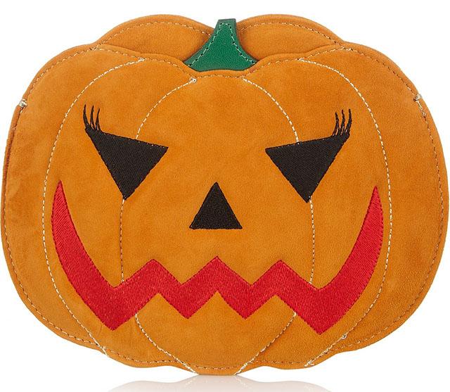 Charlotte Olympia Boo Pumpkin Suede Clutch
