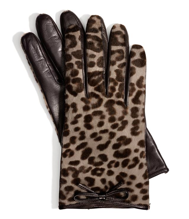 Coach Ocelot Haircalf Bow Glove