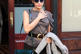 Eva Mendes carries a green Marni bag in NYC (5)
