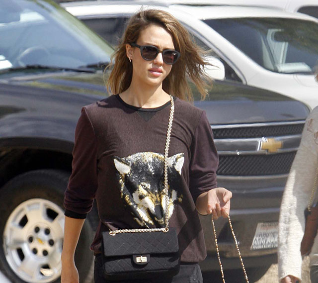 Jessica Alba carries a black Chanel bag at the Mr. Bones Pumpkin Patch (5)