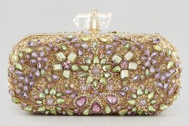 Marchesa Lily Crystal Embroidered Box Clutch