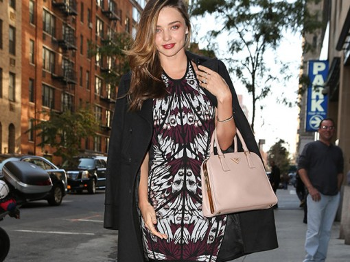 Miranda Kerry carries a pink Prada bag in NYC (5)