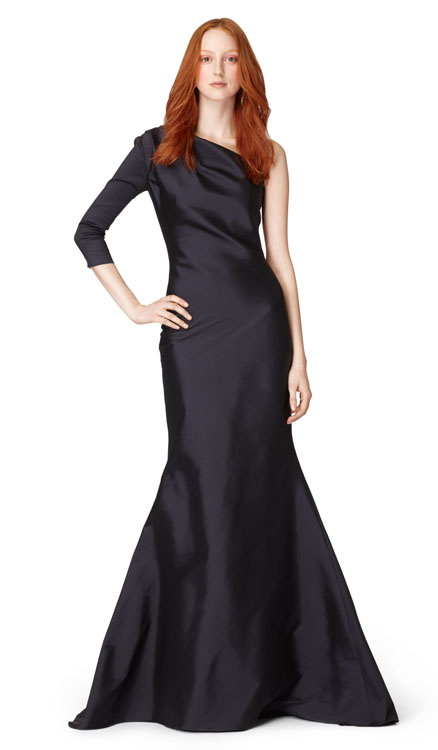 Oscar de la Renta One Shoulder Slim Fishtail Gown