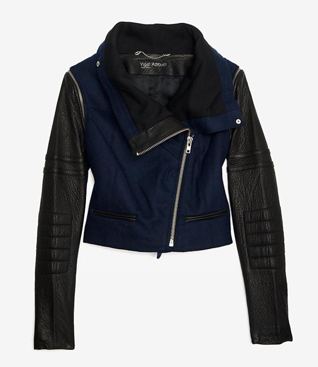 Yigal Azrouel Leather Wool Motorcycle Jacket
