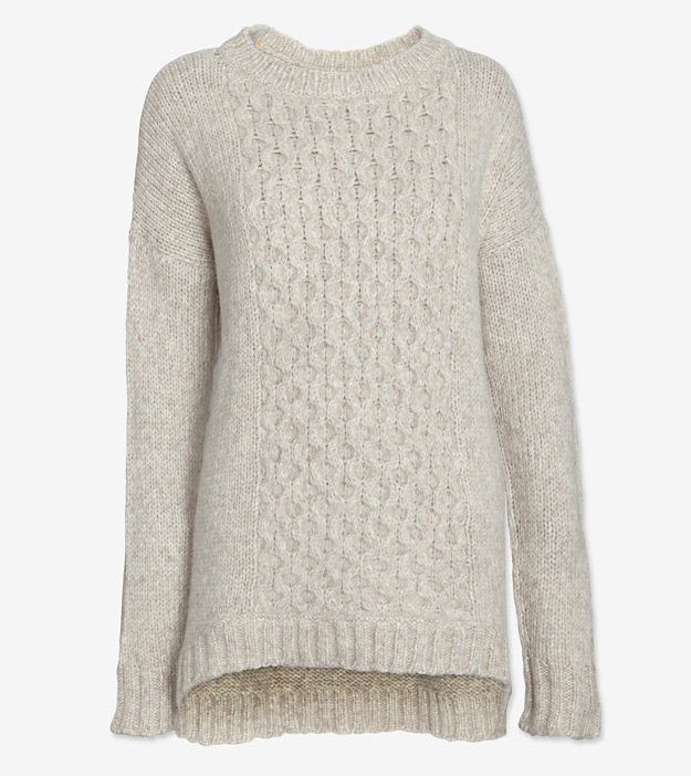 Christopher Fischer Curved Hem Cable Knit Sweater