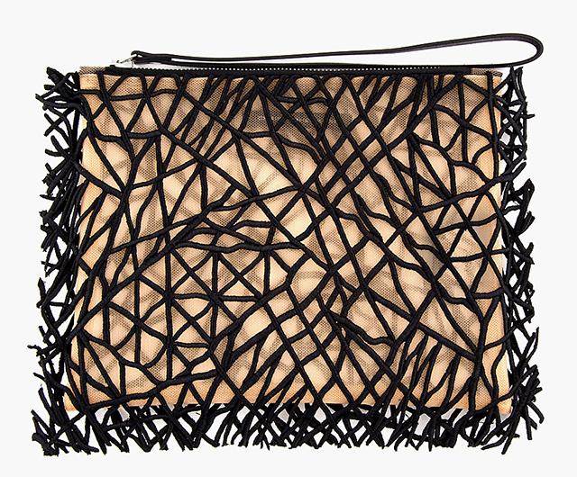 Christopher Kane Black Embroidered Sheer Crackle Clutch