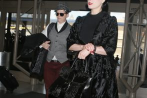 Dita Von Teese Leaves LA with a Delvaux Fur Bag