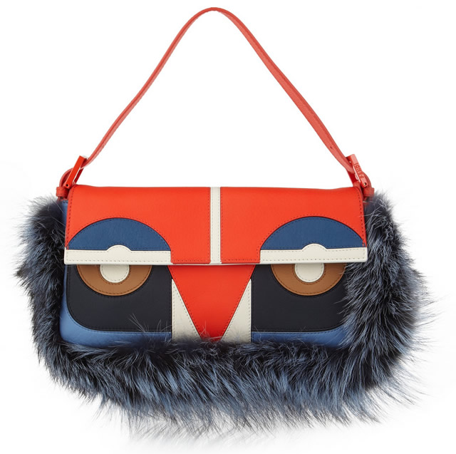 Fendi Owl Baguette Leather and Fox Shoulder Bag